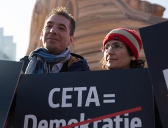Greens protest against CETA in Strasbourg