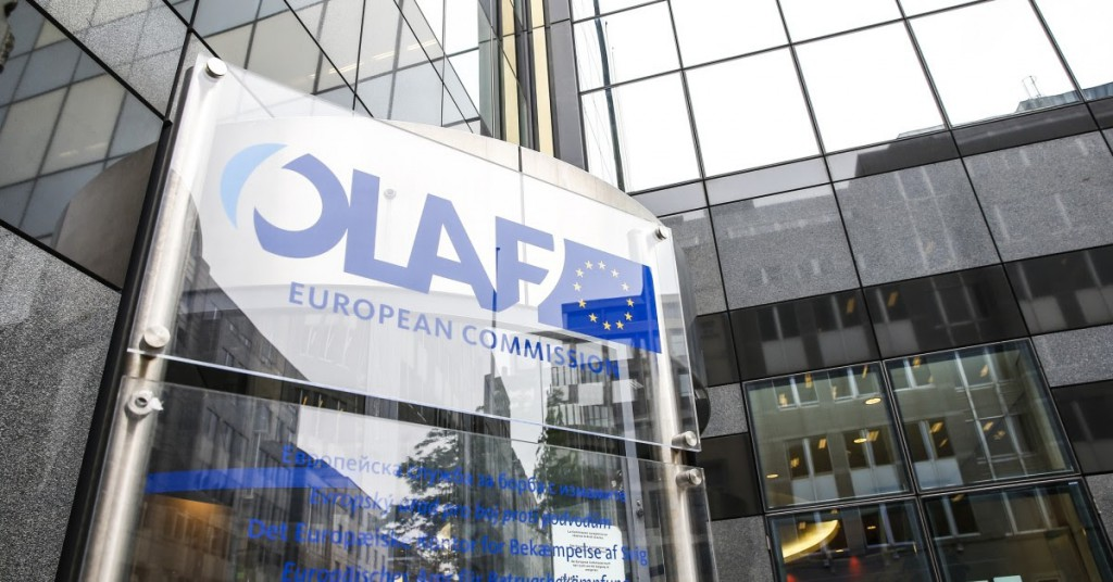 epa04779739 A general view of the of the European Anti-Fraud Office (OLAF) logo at the OLAF headquarters in Brussels, Belgium, 02 June 2015. A press conference was held to present the 2014 results and key activities of OLAF.  EPA/JULIEN WARNAND